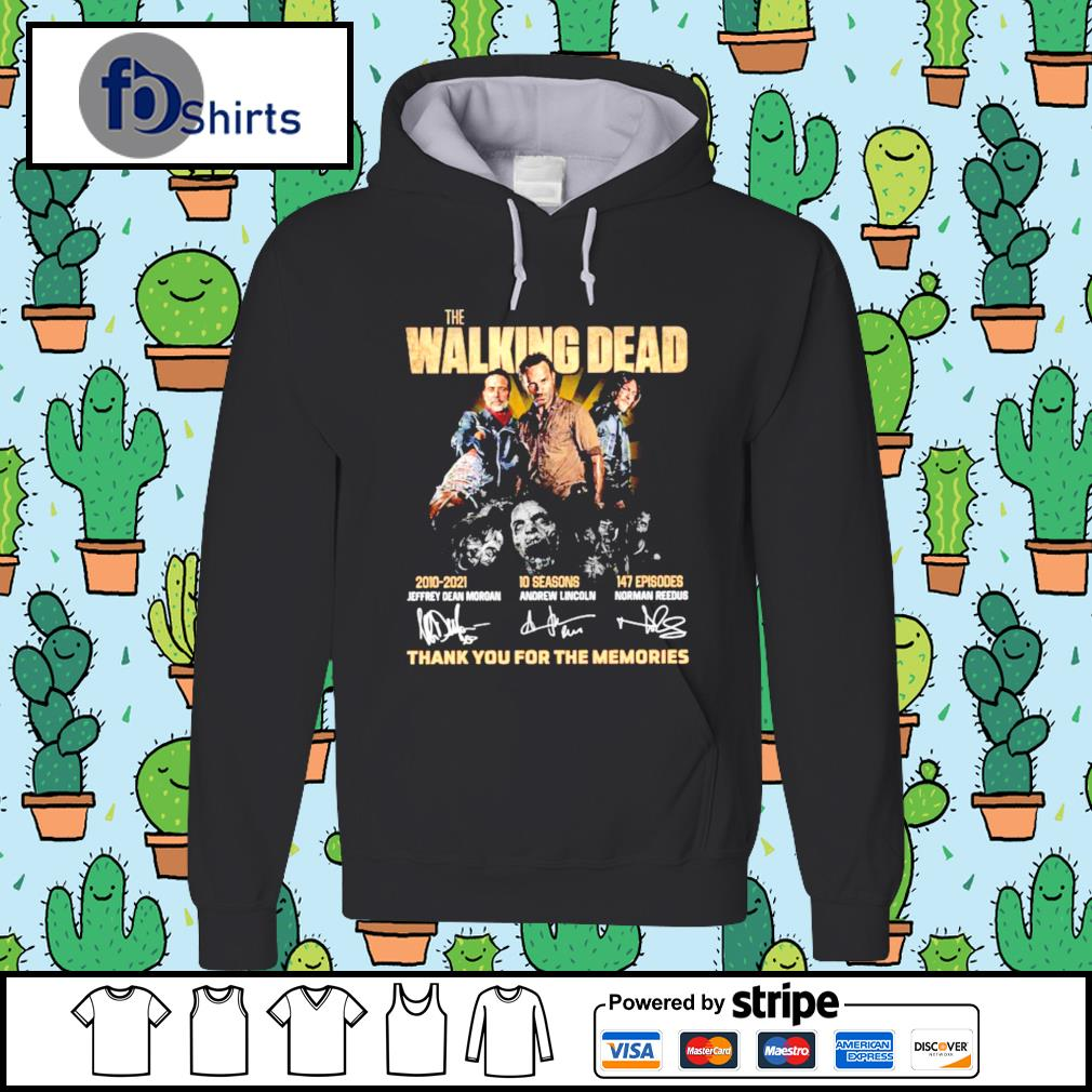 The Walking Dead 2010 2021 10 Season 147 Episodes Thank You For The Memories Signatures Shirt hoodie