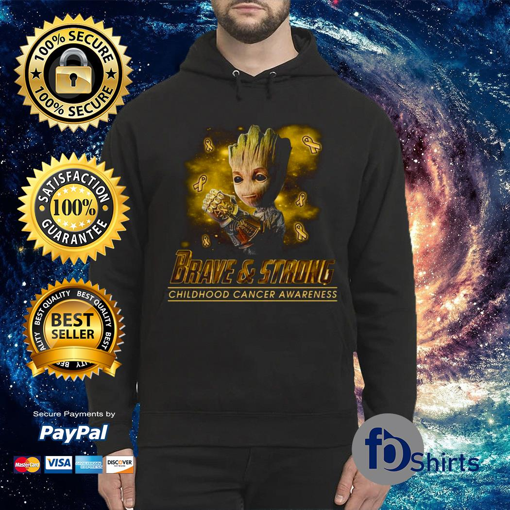 Yellow Baby groot brave & strong childhood cancer awareness Hoodie