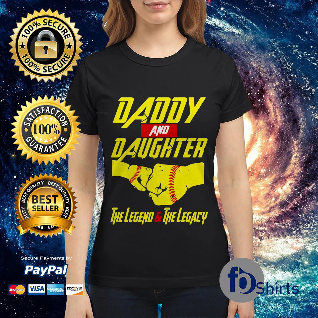 Yellow Daddy and Son baseball the legend vs the legacy Ladies tee