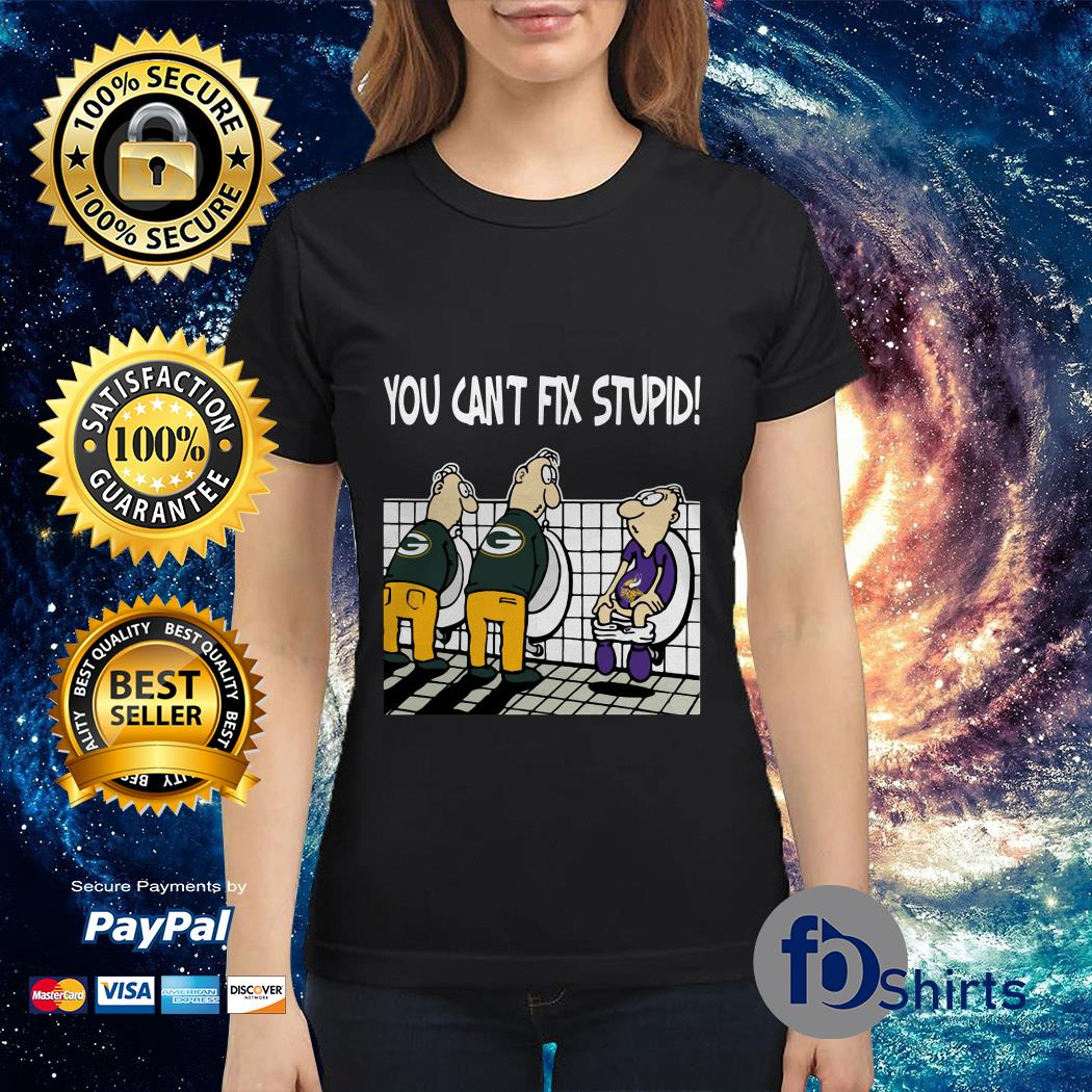 You can't fix stupid funny Green Bay Packers NFL Ladies tee