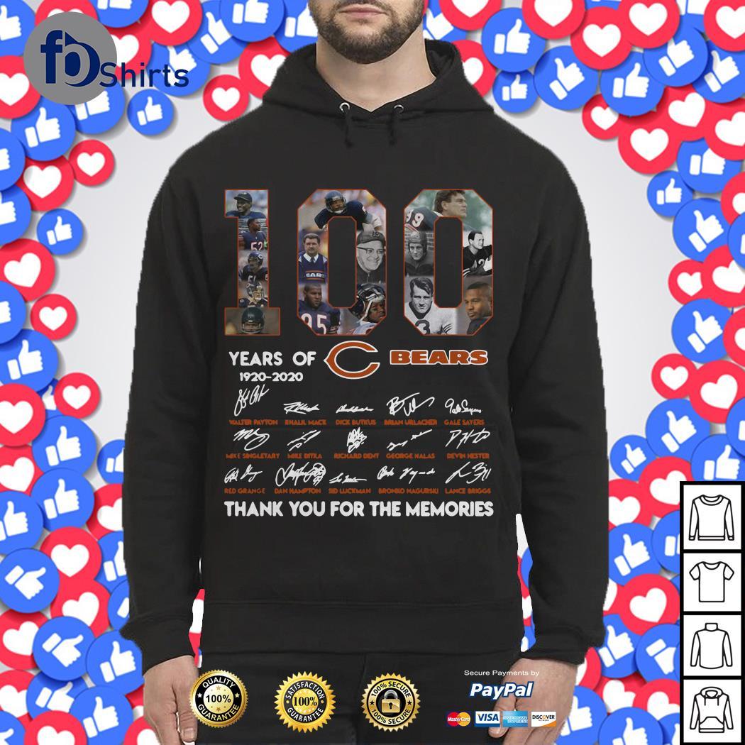 100 years of 1920-2020 Chicago Bears signatures Hoodie