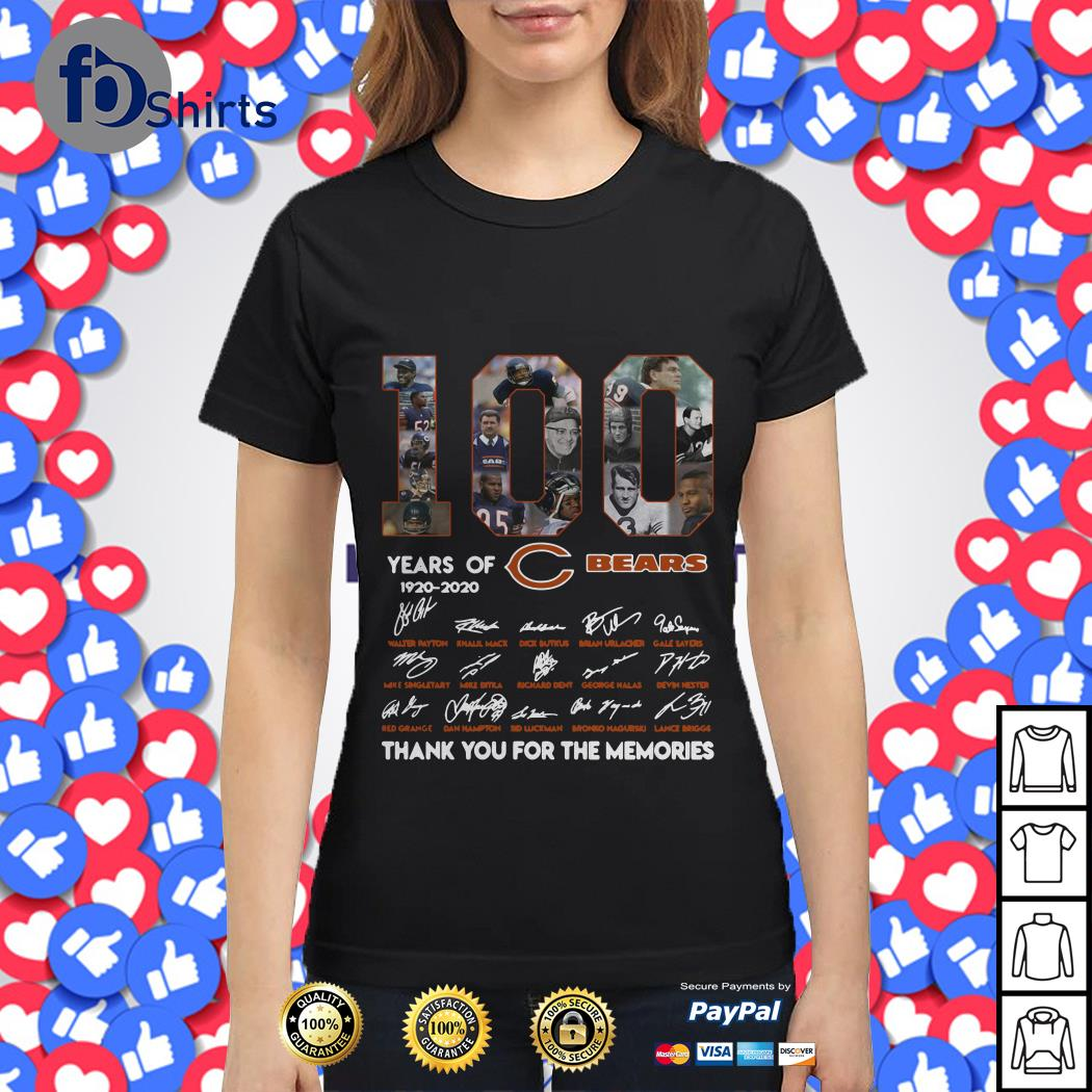 100 years of 1920-2020 Chicago Bears signatures Ladies tee