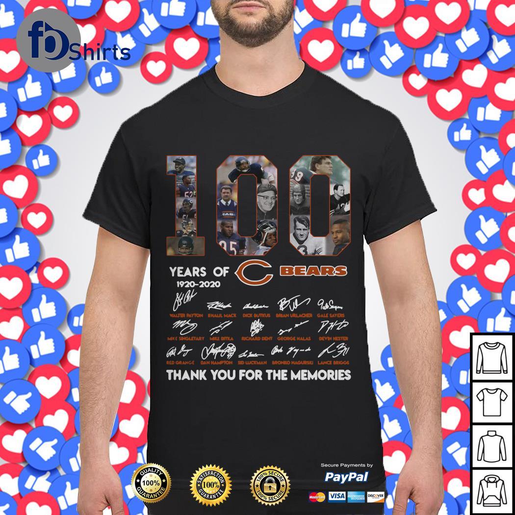 100 years of 1920-2020 Chicago Bears signatures shirt