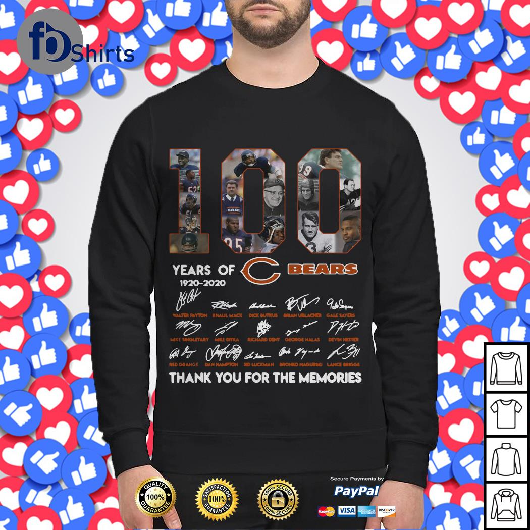 100 years of 1920-2020 Chicago Bears signatures Sweater
