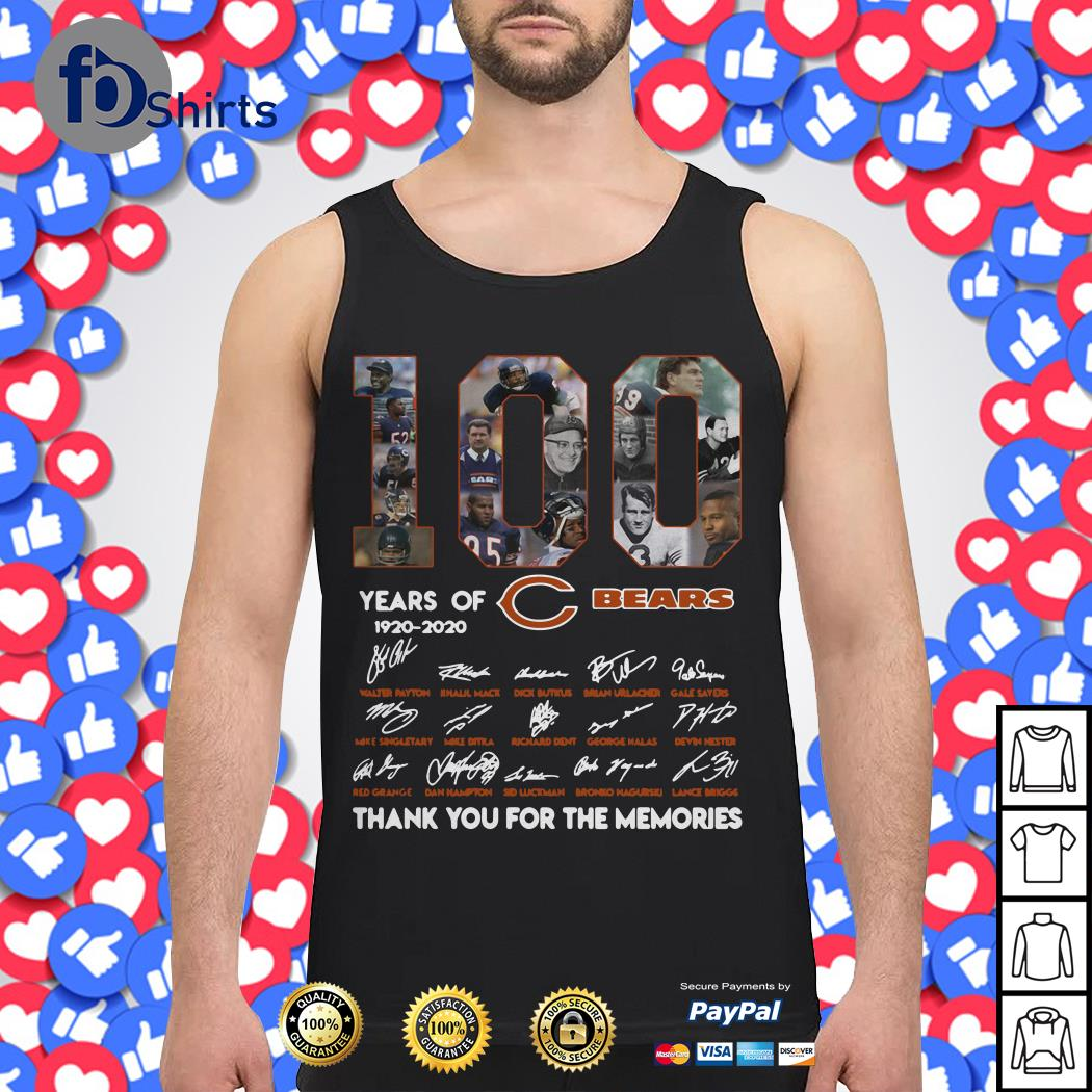 100 years of 1920-2020 Chicago Bears signatures Tank top
