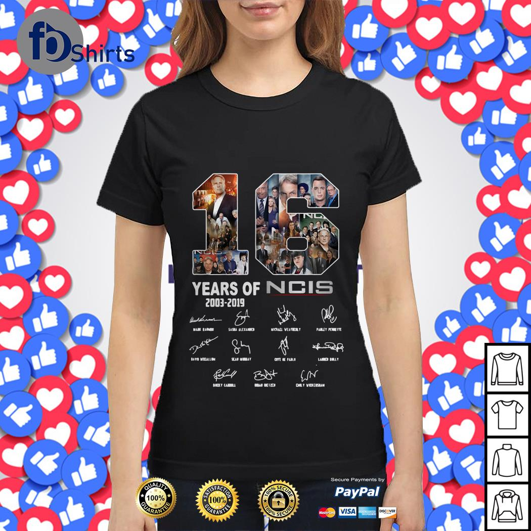 16 years of NCIS 2003 2019 signature Ladies tee