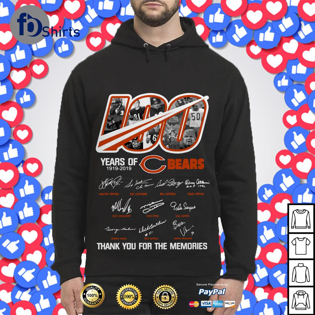 100 years of Chicago Bears 1919-2019 thank you for the memories Hoodie