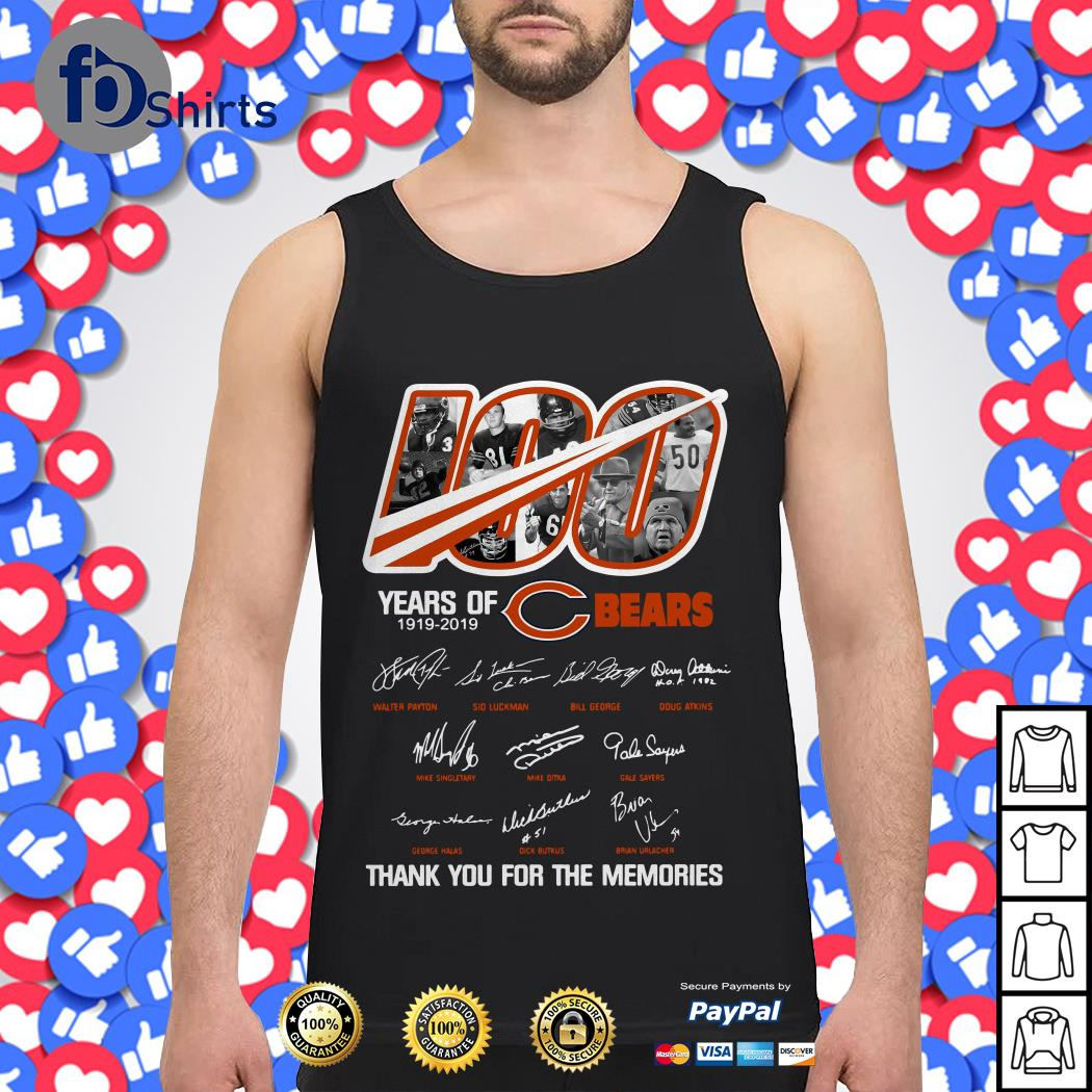 100 years of Chicago Bears 1919-2019 thank you for the memories Tank top