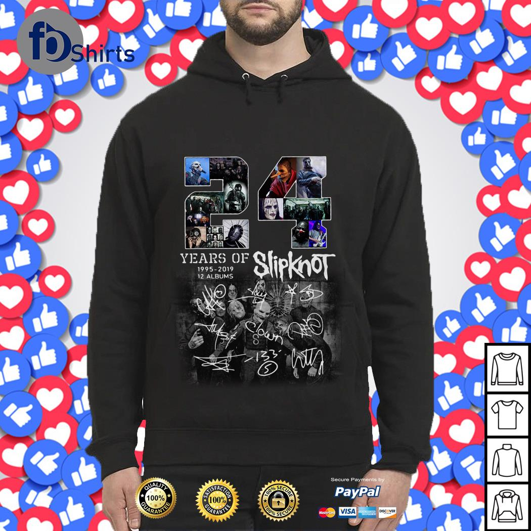 24 years of 1995 2019 12 albums Slipknot signature Halloween Hoodie