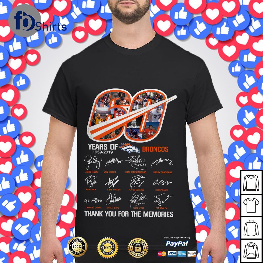 60th Years Of Denver Broncos 1959-2019 Shirt