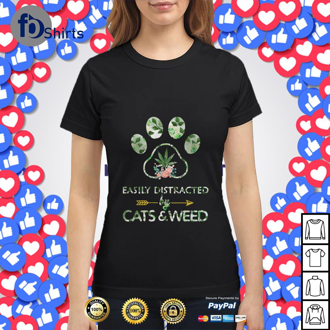 Easily Distracted by Cats and Weed Ladies tee
