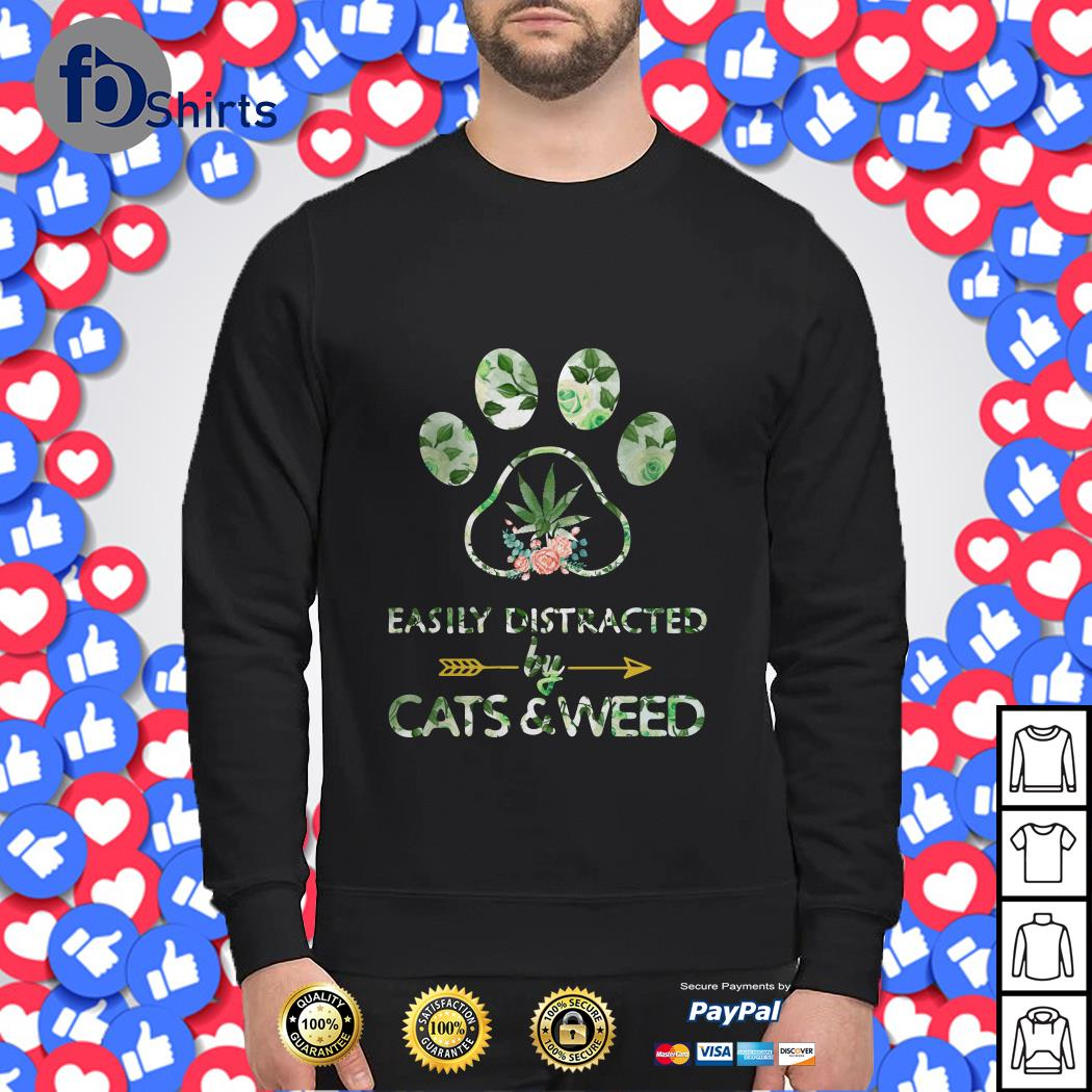 Easily Distracted by Cats and Weed Sweater
