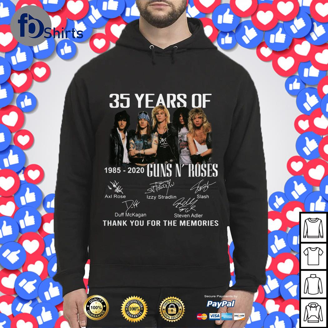 35 years of Guns N' Roses 1985-2020 thank you for the memories Hoodie