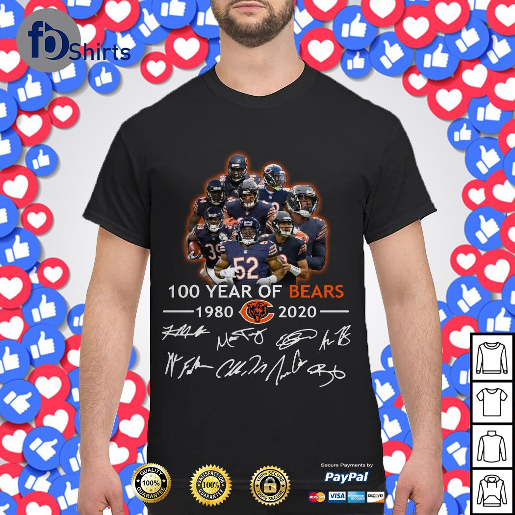Chicago Bears NFL 100 Year of Bears 1980 2020 Signature shirt