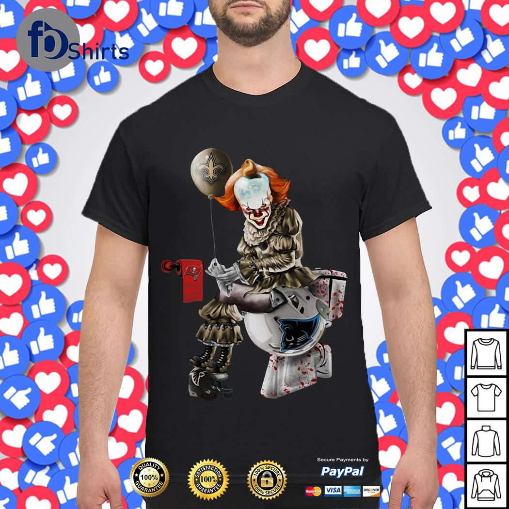 Pennywise New Orleans Saints Sitting On Carolina Panthers Toilet And Step On Atlanta Falcons Helmet Shirt