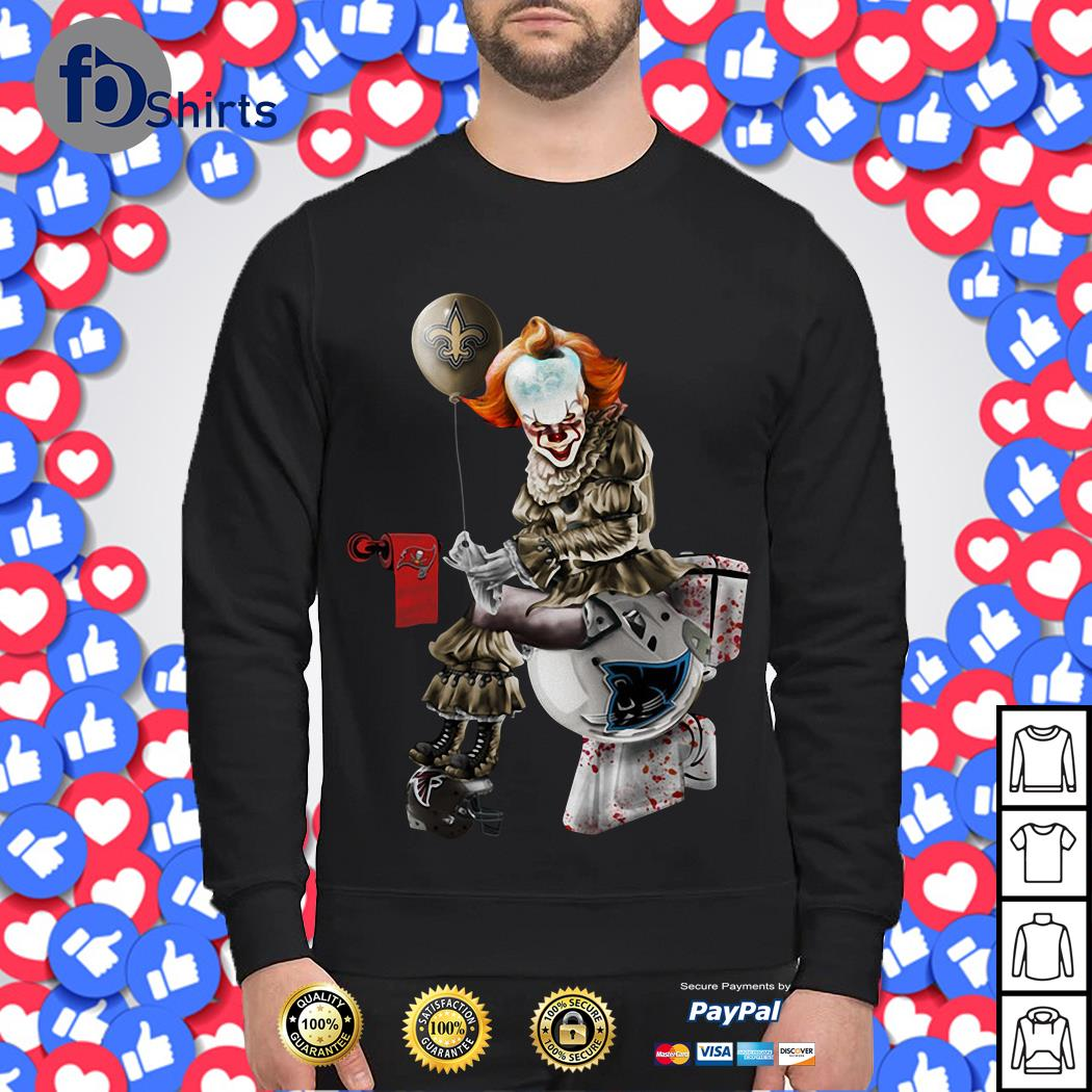 Pennywise New Orleans Saints Sitting On Carolina Panthers Toilet And Step On Atlanta Falcons Helmet Sweater