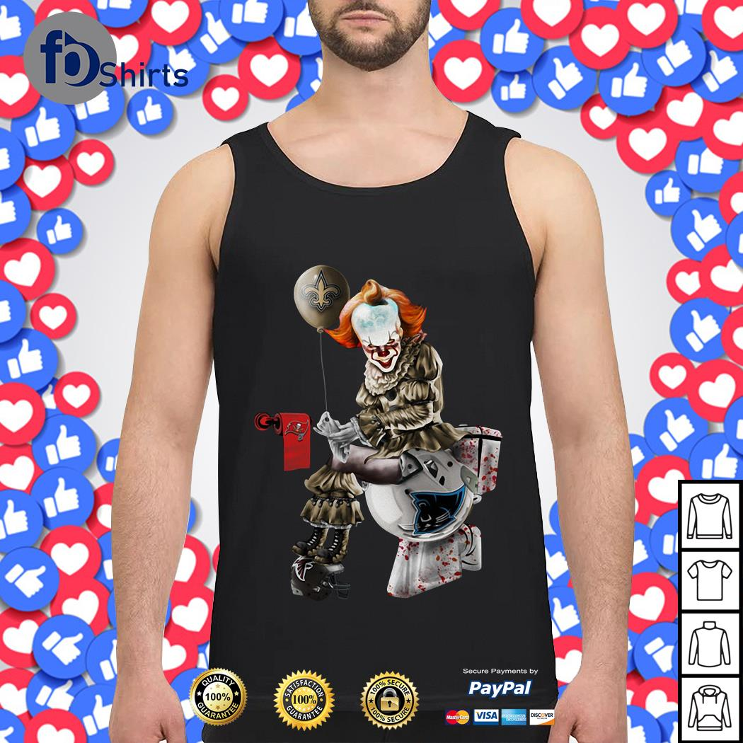 Pennywise New Orleans Saints Sitting On Carolina Panthers Toilet And Step On Atlanta Falcons Helmet Tank top