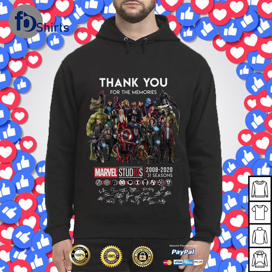Thank you for the memories Marvel Studios 2008-2020 31 seasons signatures Hoodie