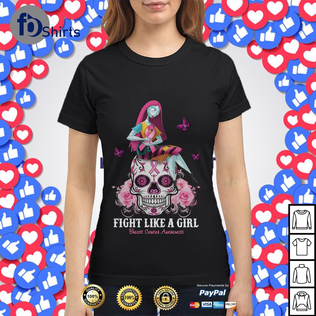 Skull fight like a girl breast cancer awareness shirt