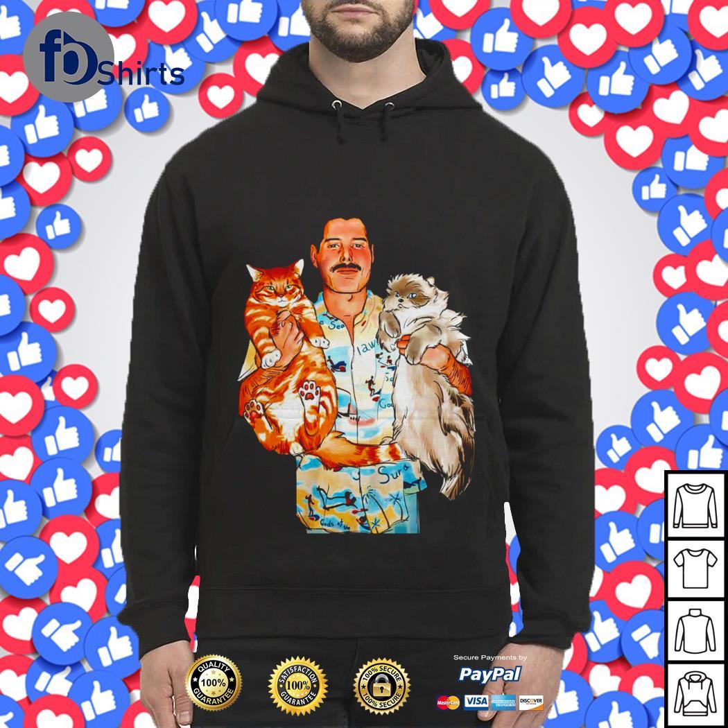 Freddie Mercury hug Lil Bub and Grumpy Cat shirt