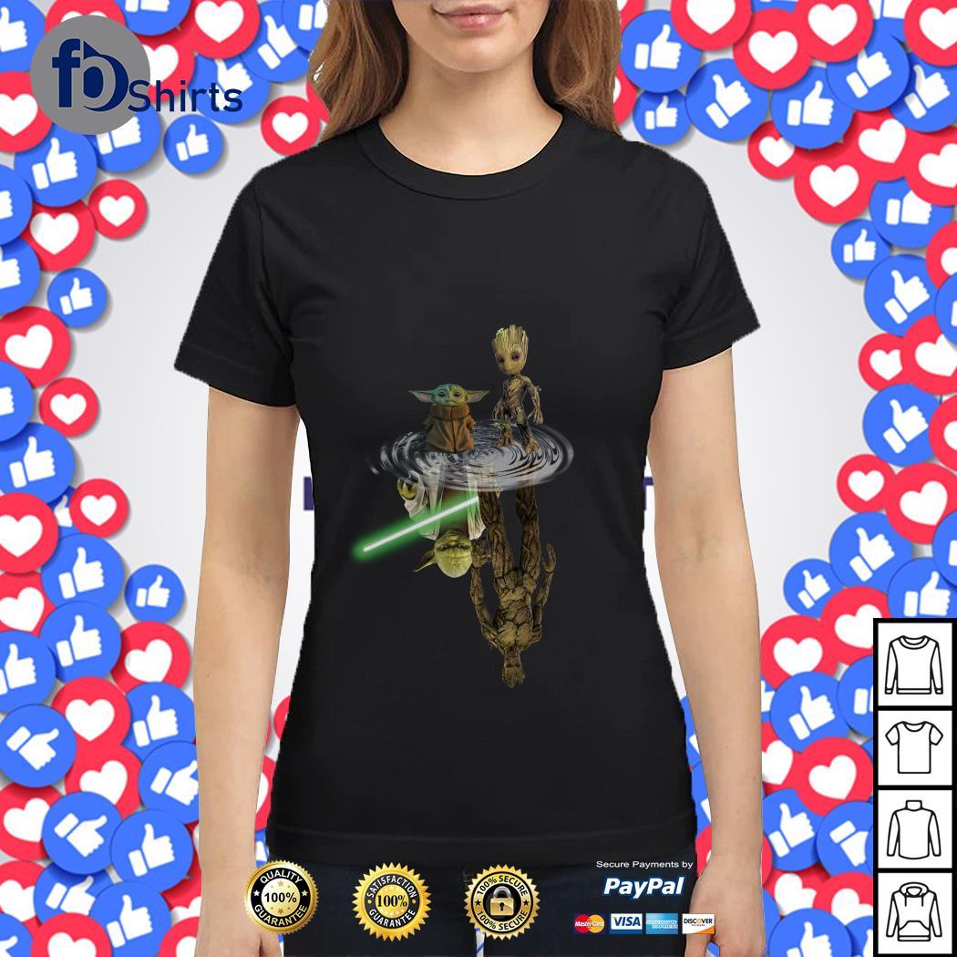 Official Baby Yoda and Groot water reflection Master Yoda and Groot shirt
