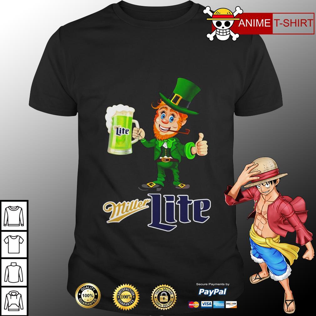 St Patrick's Day Leprechaun Drinking Miller lite Shirt