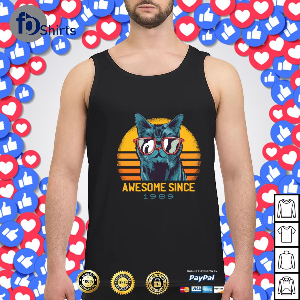 Cat awesome since 1989 vintage s tank-top