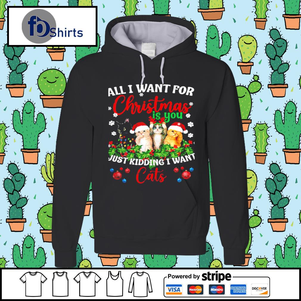All I Want For Christmas Is You Just Kidding I Want Cats s hoodie