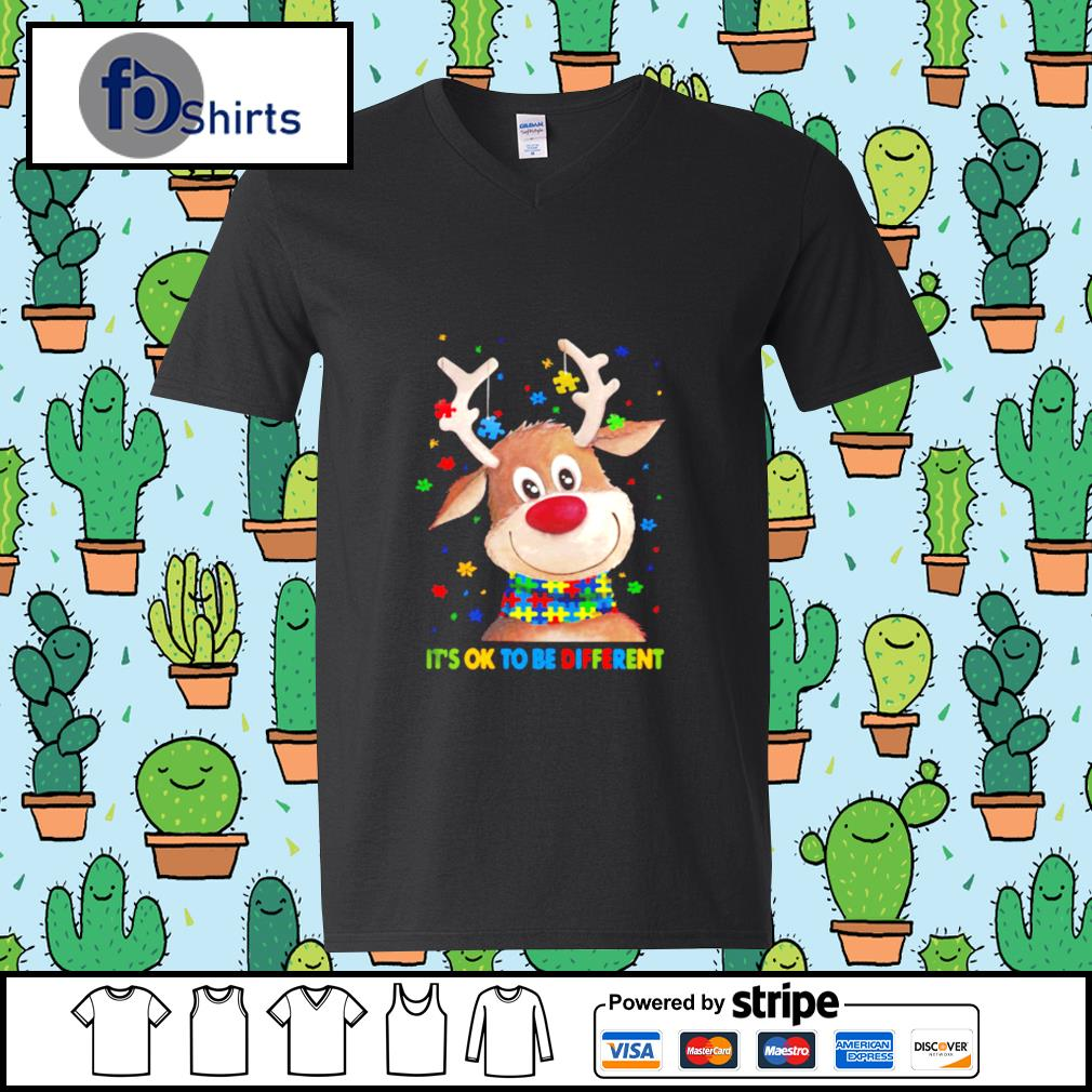 Autism Awareness Reindeer Its Ok To Be Different s v-neck-t-shirt