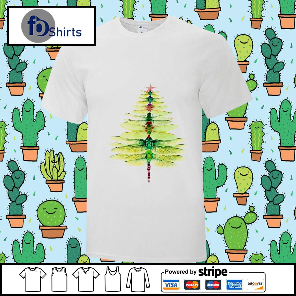 Dragonfly Christmas Tree Print shirt