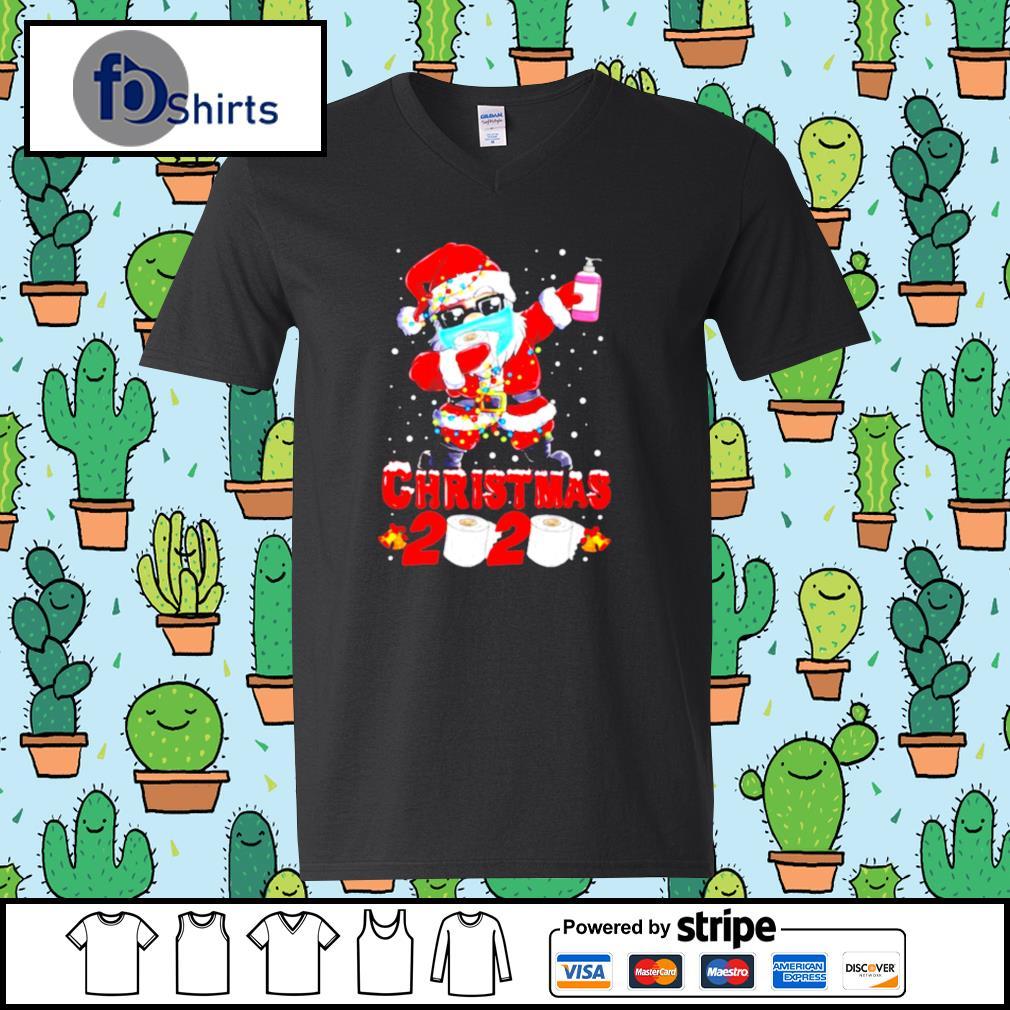 Santa Claus Dabbing Toilet Paper Merry Christmas 2020 s v-neck t-shirt