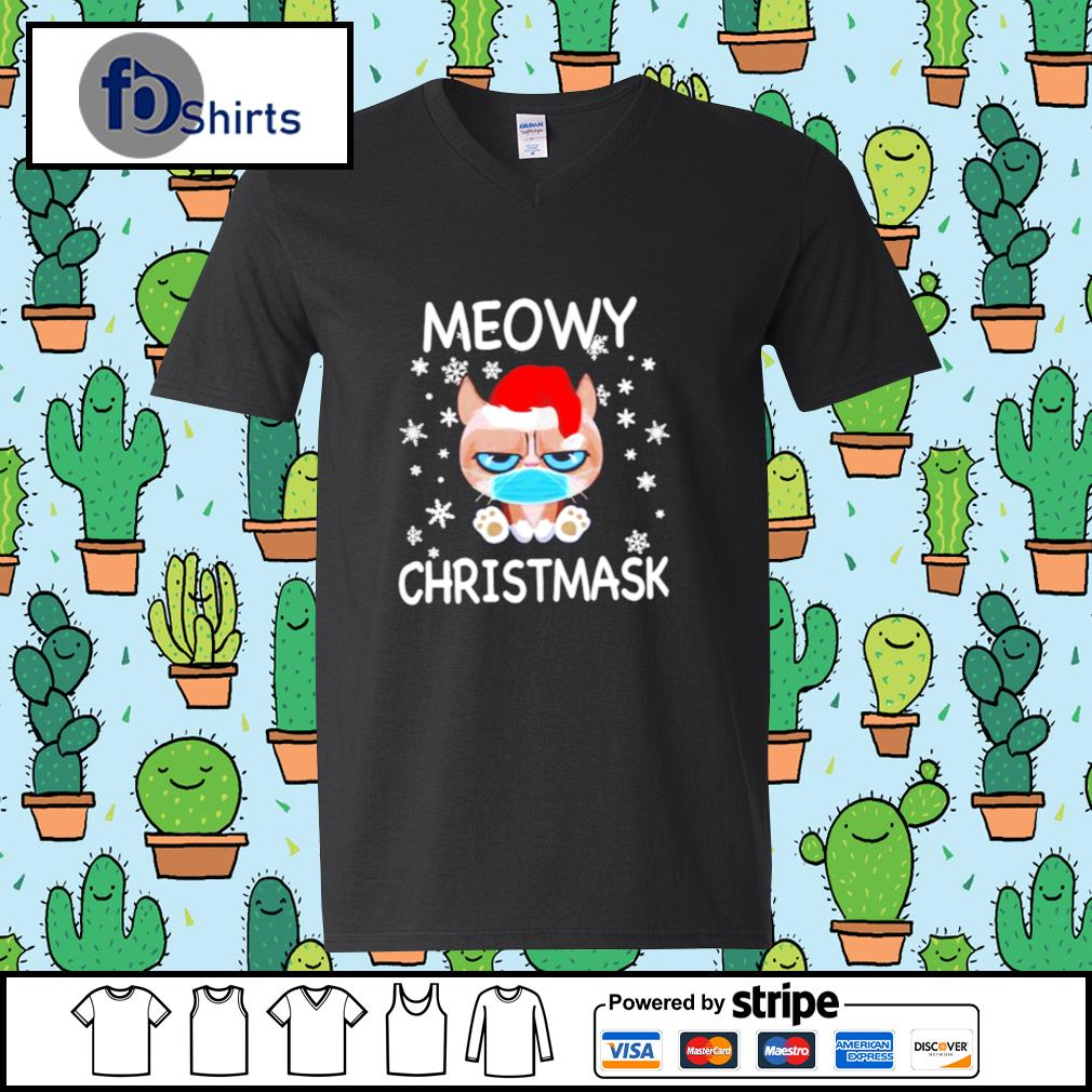 Santa Grumpy Cat Face Mask Meowy christmas s v-neck t-shirt