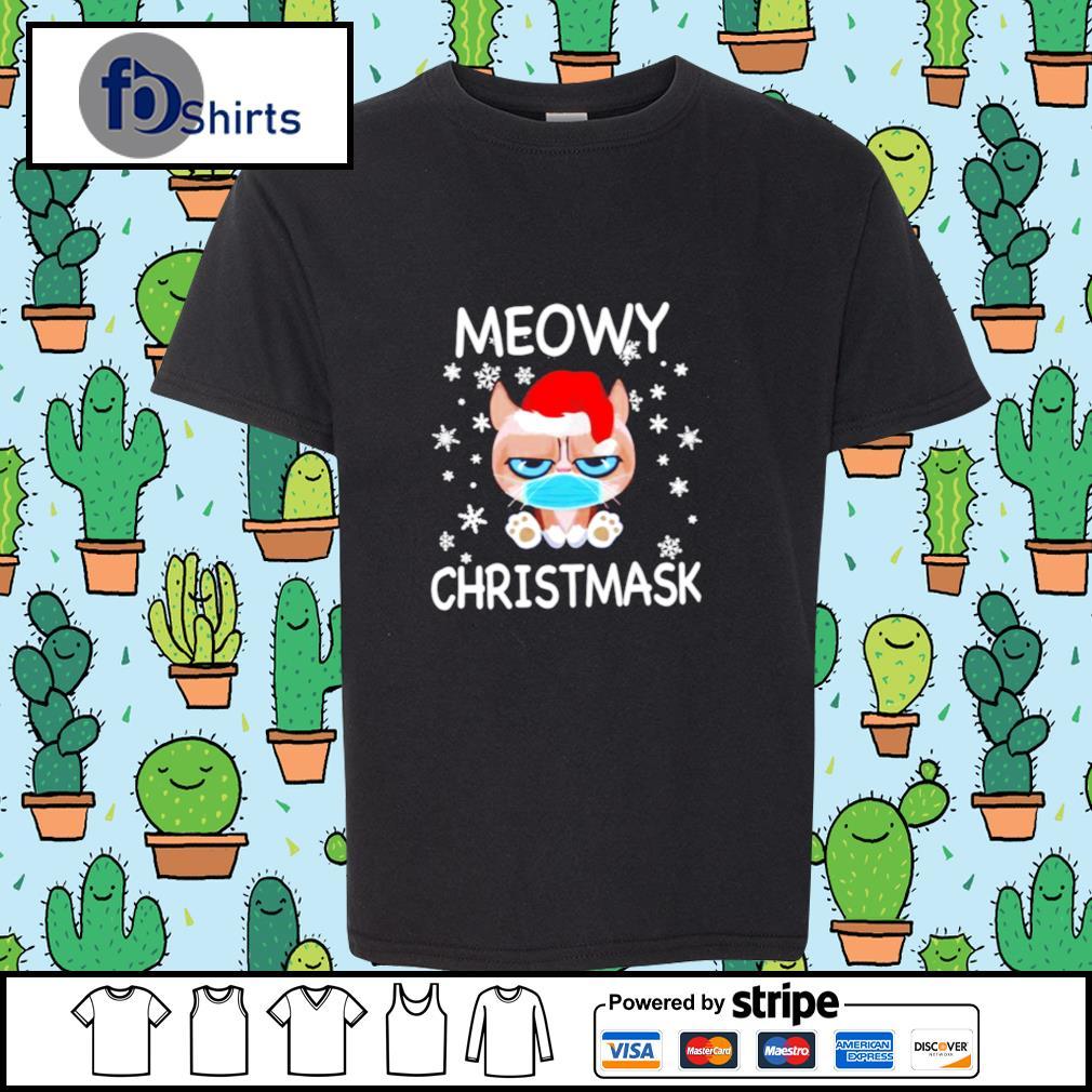 Santa Grumpy Cat Face Mask Meowy christmas s youth-tee