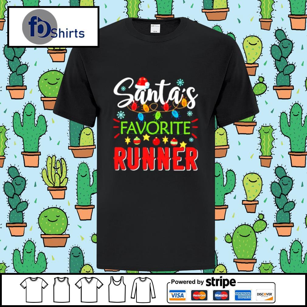 Santa's Favorite Runner Xmas Light Santa Hat Christmas Gift Santas Favorite Runner shirt